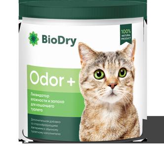 Ликвидатор запаха и влажности для кошачьего туалета BioDry Odor+ (500 г)